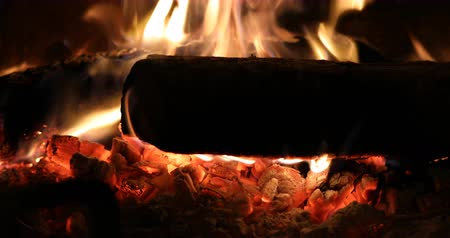 Closeup of fire in the fireplace - Concept of warm and cozy atmosphere in front of the fireplace