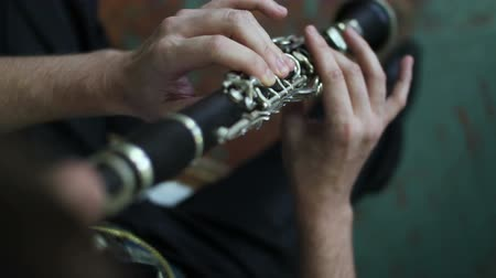 traverse : flute in man hands Stock Footage