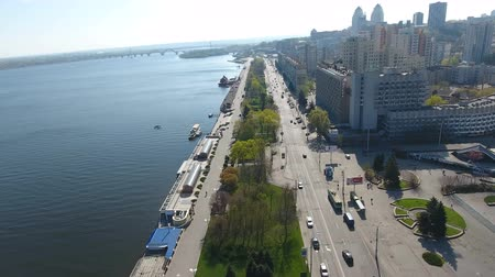 미드 타운 : DNIPRO, UKRAINE- AUGUST 22: Aerial view on embankment of Ukrainian city Dnipro located on the bank of the big river Dnieper on August 22, 2018 in Dnipro, Ukraine