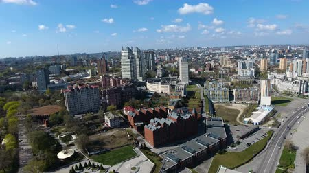 미드 타운 : DNIPRO, UKRAINE- AUGUST 22: Aerial panorama view on the modern and well-groomed Ukrainian city of Dnipropetrovsk located on the bank of the big river Dnieper on August 22, 2018 in Dnipro, Ukraine 무비클립