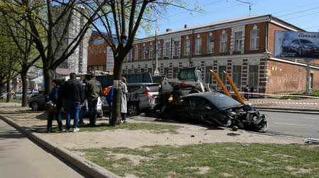 スマッシュ : DNIPRO, UKRAINE-April 10, 2019: Broken cars at avenue after road accident with truck, April 10, 2019 in Dnipro, Ukraine 動画素材