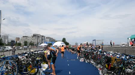DNIPRO, UKRAINE-June 9, 2019: Dnipro Triathlon Festival, athletes are preparing for competition, June 9, 2019 in Dnipro, Ukraine