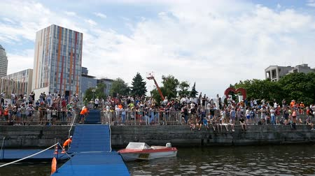 DNIPRO, UKRAINE-June 9, 2019: Dnipro Triathlon Festival, fans at swimming competition, June 9, 2019 in Dnipro, Ukraine