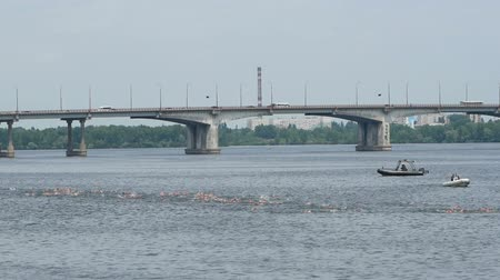 DNIPRO, UKRAINE-June 9, 2019: Dnipro Triathlon Festival, swimming competition, June 9, 2019 in Dnipro, Ukraine Stok Video