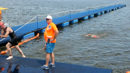 DNIPRO, UKRAINE-June 9, 2019: Dnipro Triathlon Festival, finish of swimming competition, June 9, 2019 in Dnipro, Ukraine