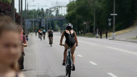 DNIPRO, UKRAINE-June 9, 2019: Dnipro Triathlon Festival, cycling competitions, June 9, 2019 in Dnipro, Ukraine