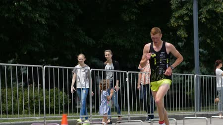 DNIPRO, UKRAINE-June 9, 2019: Dnipro Triathlon Festival, athletes running competitions, June 9, 2019 in Dnipro, Ukraine