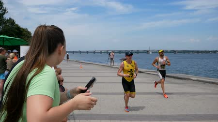 ucrânia : DNIPRO, UKRAINE-June 9, 2019: Dnipro Triathlon Festival, athletes running competitions, June 9, 2019 in Dnipro, Ukraine