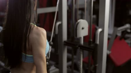 lift ups : Strong young brunette woman training in sport gym. Stock Footage
