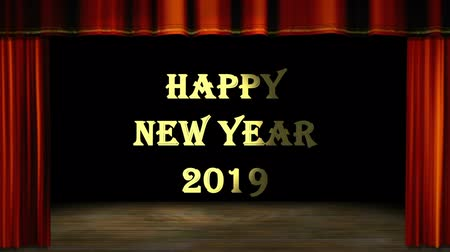 Happy new year 2019 in gold message behind red curtain opening stage. Holiday and Greeting movie theme. Open and close curtain motion. High definition footage. Pan and zoom direction camera