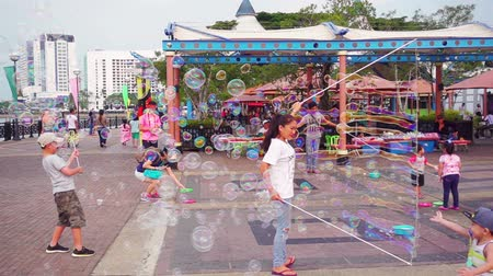 pai : November 2018, Kuching Sarawak : Locals and tourist playing water bubbles at Kuching Waterfront