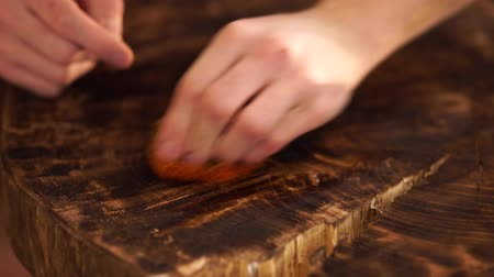 dezenfektan : Wipe the table natural wood. Full HD 1080p.