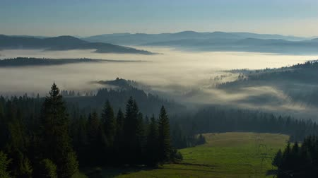 Time lapse footage of the morning Carpathian fog Stock Footage