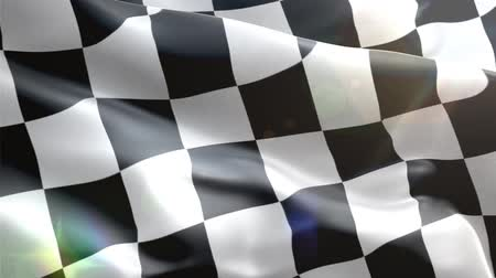pixéis : Highly detailed checkered racing flag with fabric texture waving in the wind - perfect background animation for automotive related projects