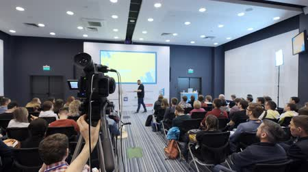 UFA RUSSIA - 04.04.2018: video camera record a lecture or seminar on marketing and business