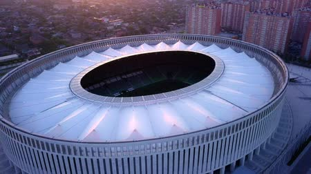 RUSSIA, KRASNODAR - JUL 1, 2018: Aerial top view in air over FC Krasnodar stadium