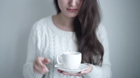 black coffee : a beautiful woman drinking Stock Footage