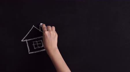 real : Buy a House - Real Estate concept chalkboard Stock Footage