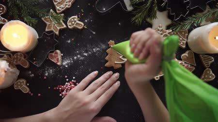 desszertek : woman hands. Traditional homemade christmas dessert
