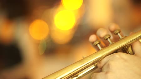 caz : African American jazz musician playing the saxophone Stok Video