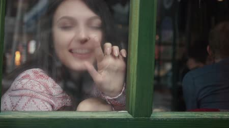 carrancudo : beautiful girl sitting on the window sill and painting on glass Stock Footage