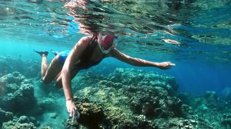 lélegzet : Young lady snorkeling over coral reefs in a tropical sea. Woman with mask snorkeling in clear water