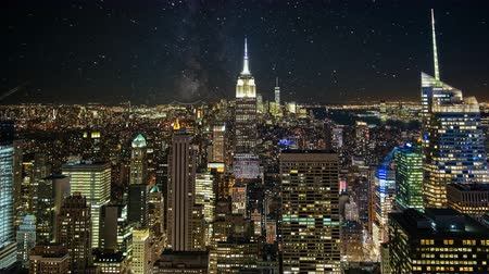 NYC skyline night time lapse. A beautiful timelapse of nightfall in the heart of Manhattan