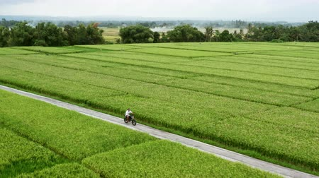 A young man riding a chopper on a countryside road. Beautiful mountain road. travel on motorbike.