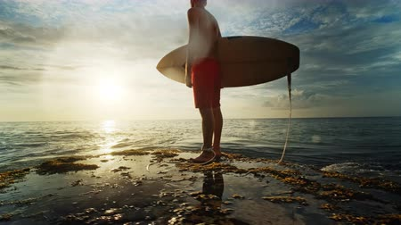longboard : A man is standing with a surf in his hands on the sea shore.