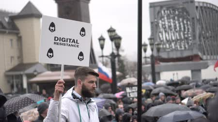 oposição : Rally organized by Navalny in May 2018 in Novosibirsk.