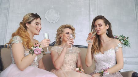 champagne pool : 20s Girls Sit on Couch at Home and Drink Champagne from Glasses.