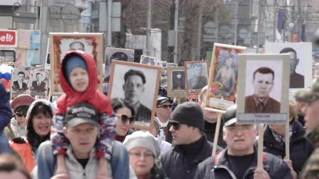comemoração : The Immortal Regiment. Procession in memory of dead heroes of Second World War.