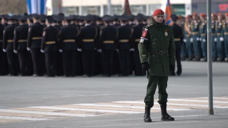 nove : Military men are following the order on the parade on May 9, 2018.