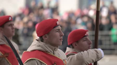 special unit : Soldiers march on the parade on May 9 closeup in a slow motion shot. Stock Footage