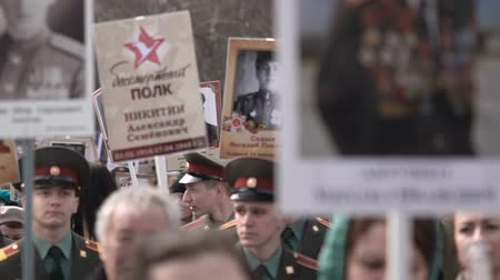 мемориал : The Immortal Regiment. Procession in memory of dead heroes of Second World War.