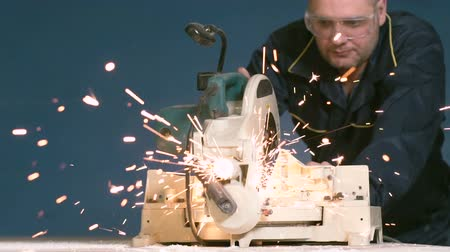 kaynakçı : During Welding of Metal Pipe, the Working Sparks Fly to the Camera Slow Motion Stok Video