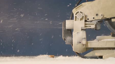 demirci : From Machine After Processing of Tree Fly out Sawdust with Smoke Slow Motion