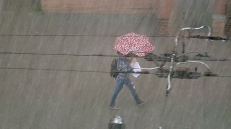 A woman walks under a heavy rain with an umbrella. Flood disaster after heavy rain. Wet girl on street. Heavy rain on streets of city. Urban disaster. People are trying to escape from elemental rain Wideo