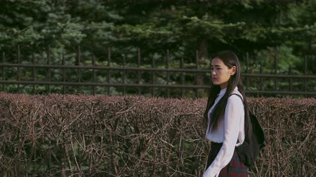 after school : Korean people walking down the alley after school. Forest is near night and sunset. Schoolgirl heading home swiftly, looking around. Vacation started and asian wants to quickly get into room to relax. Stock Footage