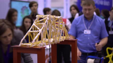 marco internacional : Bridge Layout Strength Test Exposition Centre. Science Education Complex Industrial Model Technology Durability Failure Research Method Technical-Scientific Experiment Exhibition Concept 4K