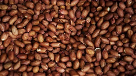 pistacje : Many red nut pistachios closeup pan background 4K. Seeds of nut panning in store for the buyer. Background of pistachios panoramic to produce food. Clear place for your isolated text pattern