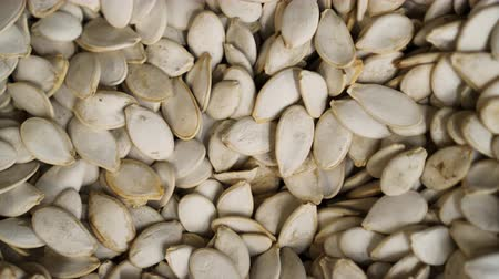 pisztácia : Pumpkin seed closeup rotating against background in grocery 4K. Vegan seed spining showing presentation. Pampkin background turning beautifully for buyer. Clear place for your isolated text pattern
