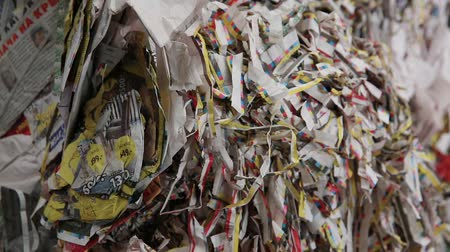 reprocessing : Big Factory For Recycling Paper and Carboard. Processing of secondary resources. Paper recycling. Waste paper. Garbage truck unloads the waste paper at the garbage recycling plant. Close-up shot.
