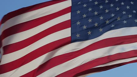 usa independence day : American Flag Waving. Close up of American flag waving. Real Flag of the USA slowly waving in the wind. Elegant Nylon American Flag Waving in the Wind. American concept. Stock Footage