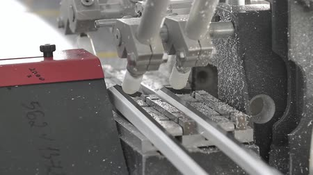 chloride : Cutting of the glazing bead for the plastic window. Cutting PVC profile with circular saw, plastic windows manufacture. Plastic window production technology. Stock Footage