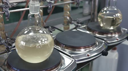 analisar : Light liquid is bubbling in a flask under laboratory conditions. Quality control in the laboratory at factory of sparkling wines. Flask is heated with large temperature on the stove in laboratory.