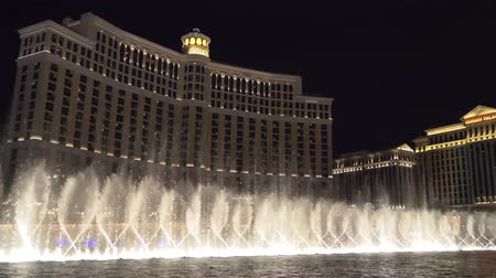 bellagio : Las Vegas, Nevada - April 2018: Bellagio Hotel Casino by night, Las Vegas Famous Show. Fountains at Bellagio Hotel and Casino in Las Vegas.