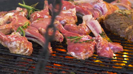 alecrim : Grilled steak. Ribs on barbecue grill. Cooking delicious juicy meat steaks on the grill on fire. Bbq beef ribs on A grill outdoors T-Bone Steak. Cooking barbecue steak. Stock Footage