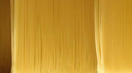fragilidade : Background or texture of pasta and spaghetti close-up. Spaghetti processing in a pasta Factory. Close up of raw spaghetti hung in a pasta factory, swinging, to dry. Pasta and spaghetti factory.