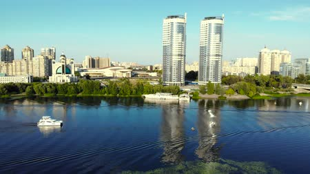 Two identical buildings nearby, aerial view. Elite housing on the river in a big city. Stock Footage